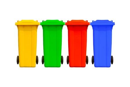 botes de basura: Grandes botes de basura de colores los contenedores de basura con la recopilaci�n de la rueda