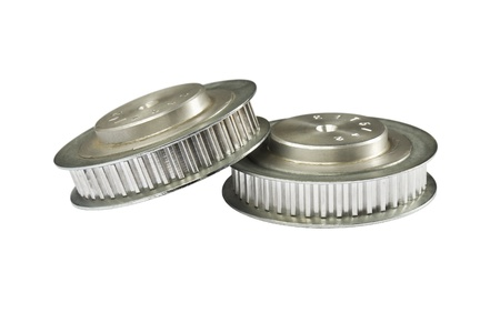 t5: Two timing pulleys, isolated on white background, marked number on the pulleys are type and number of teeth