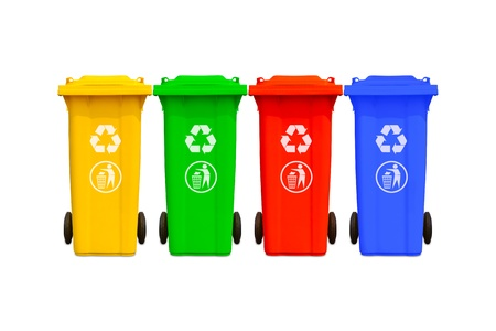 Collection of large colorful trash cans  garbage bins  with recycle mark photo
