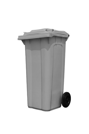 Large gray trash can  garbage bin  with wheel, isolated on white background