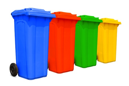 Grote kleurrijke vuilnisbakken vuilnisbakken met wiel collectie Stockfoto