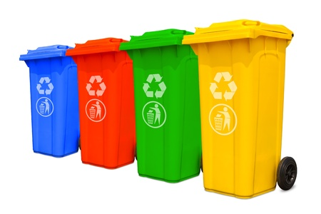 Collection of large colorful trash cans  garbage bins  with recycle mark Stock Photo