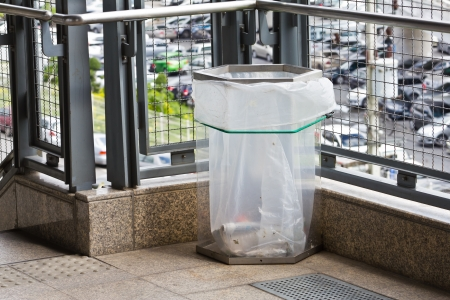 recycle area: Trash can or garbage bin made of transparency plastic, used in city or crowded area for safety purpose