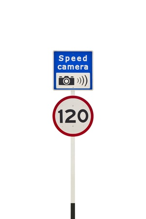 Speed limit and speed camera signpost, in English, isolated on white background Stock Photo - 14414114