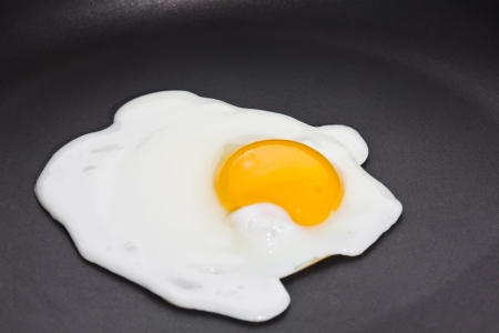 Fried egg, sunny side up on black skillet photo
