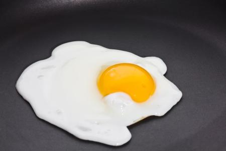 Fried egg, sunny side up on black skillet photo