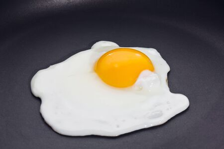 Fried egg, sunny side up on black skillet