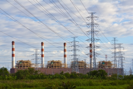 Gas turbine electrical power plant with high voltage transmission lines and pylons, Thailand Stock Photo - 14510639