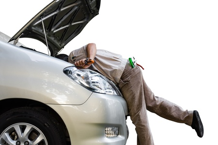 automotive repair: Car troubleshooting at engine under car hood Stock Photo