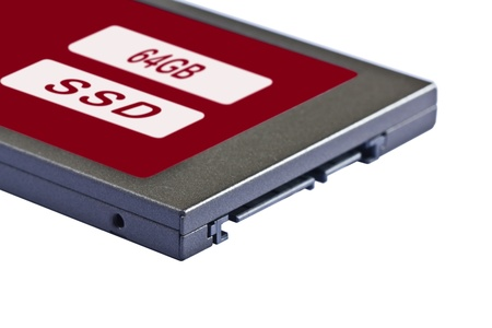 ssd: 2 5 inch  notebook size  solid state drive  SSD , sata interface, 64GB capacity Stock Photo