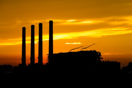 Silhouette of gas turbine electrical power plant at dusk Stock Photo - 14932353