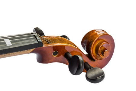 Close up of scroll and pegbox of violin, isolated on white background Stock Photo - 15032220