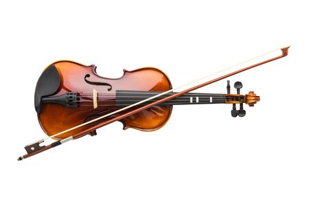 Shiny violin and bow isolated on white background