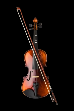 Shiny violin and bow isolated on black background Stock Photo - 15395243