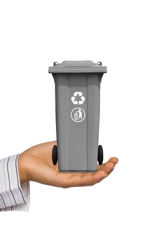 segregate: Hand offer gray trash can  garbage bin  with recycle mark, isolated on white background
