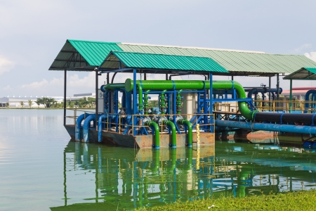 Outdoor sewage water treatment station for industrial estate photo