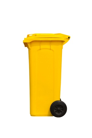 Large yellow trash can  garbage bin  with wheel, side view, isolated on white background Stock Photo