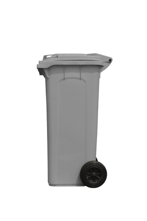 Large gray trash can  garbage bin  with wheel, side view, isolated on white background