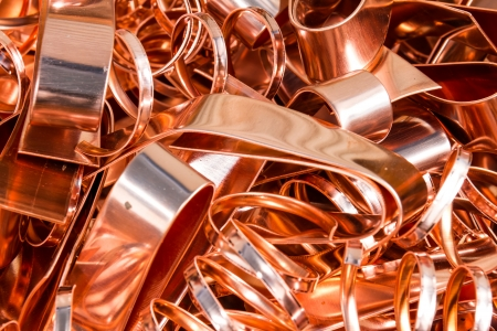 Scrapheap of copper foil  sheet  for recycling Reklamní fotografie