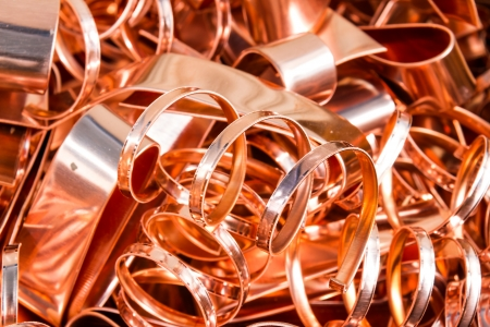 copper: Scrapheap of copper foil  sheet  for recycling Stock Photo