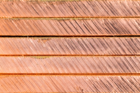 the cutting edge: Texture of cutting edge of overlapping stack of copper bar  bus bar