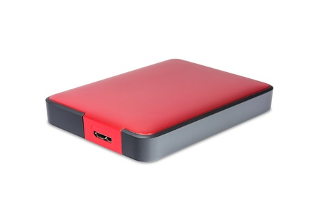 2 5 inch  notebook size  external hard disk drive with usb 3 0 connector, red color, with clipping path photo