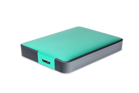 external hard disk drive: 2 5 inch  notebook size  external hard disk drive with usb 3 0 connector, teal color Stock Photo