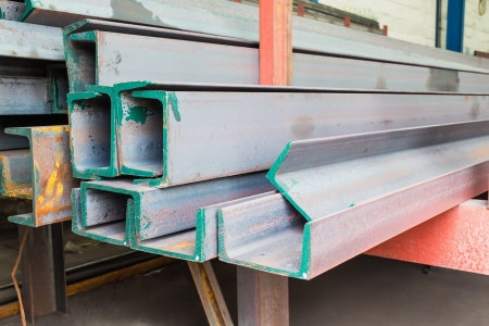Heap of channel  u shape beam  steel in factory shelf photo