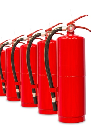 Chemical fire extinguishers isolated on white background, with clipping path, ready for fire fighting