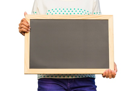 Casual girl holding blank chalkboard on white background, communication concept Stock Photo - 18496624