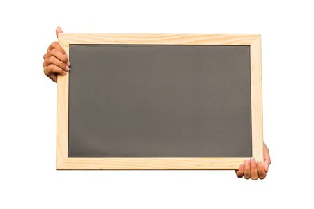 Hand holding blank chalkboard on white background, communication concept Stock Photo - 18496622