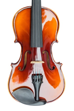 Close up of shiny violin, isolated on white background photo