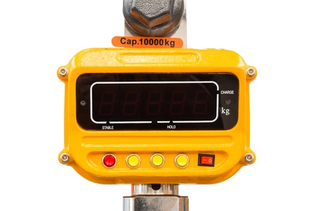 Industrial type digital weight scale for measuring material weight by lifting, isolated on white background 免版税图像