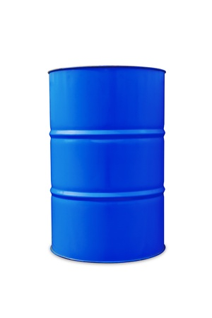 Blue color metal oil barrel, isolated on white background with clipping path