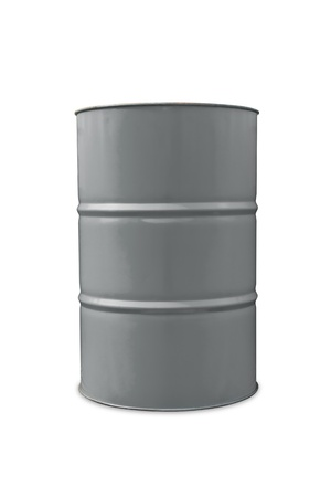 oil barrel: Gray color metal oil barrel, isolated on white background with clipping path