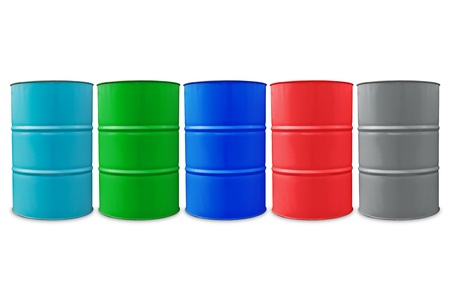 Collection of colorful metal oil barrel, isolated on white background with clipping path