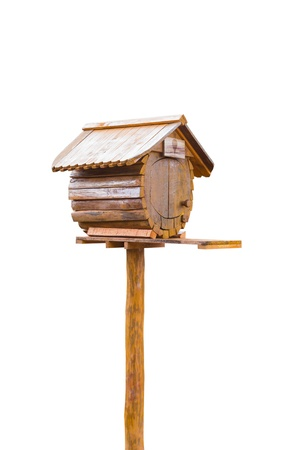 Birdhouse or homemade wooden mailbox, isolated on white background