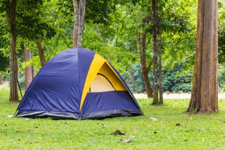 Dome tent camping at Bang Krang Camp in Kaeng Krachan National Park, Thailand photo