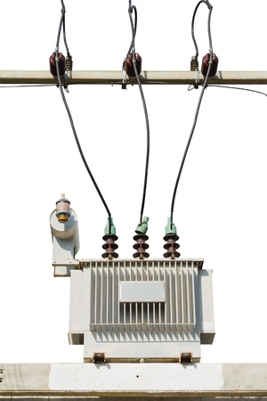 three phase: Three phase conservator type oil immersed transformer on concrete platform, isolated on white background