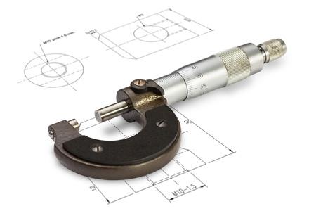 Kleine micrometer meetbereik 0-25 mm, geïsoleerd op een tekening achtergrond met clipping path