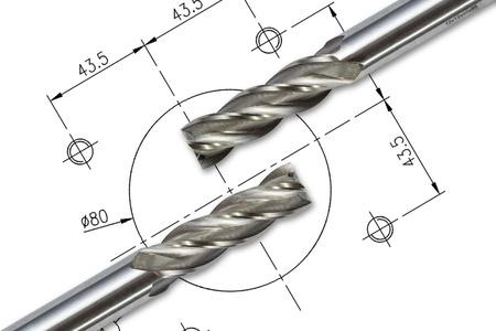 dibujo tecnico: Cortadores de fresa de extremo, aislados en el dibujo de fondo con trazado de recorte