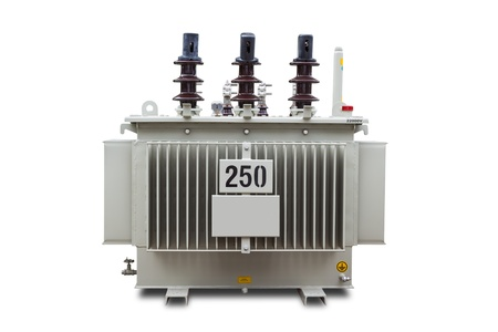 Three phase 250 kVA corrugated fin hermetically sealed type oil immersed transformer, isolated on white background with clipping path