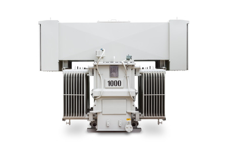 three phase: Three phase 1000 kVA sealed type with radiator fin oil immersed transformer, isolated on white background with clipping path