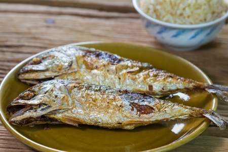 Close up of fried short mackerel, Thai conventional food photo