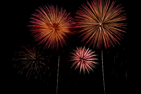 Fireworks in the night sky, for new year or independence day or other occasions photo