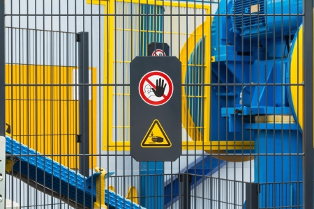 industrial machine: Warning sign for safety on machine
