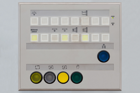 pilot light: Operator control panel for remote control of machinery including push button switchs with illuminated pilot light and indicator lights