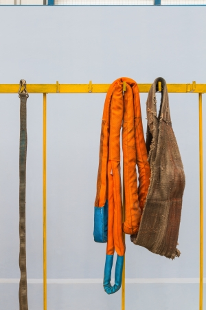 slings: Various kinds of webbing slings or soft slings used for lifting heavy material with crane