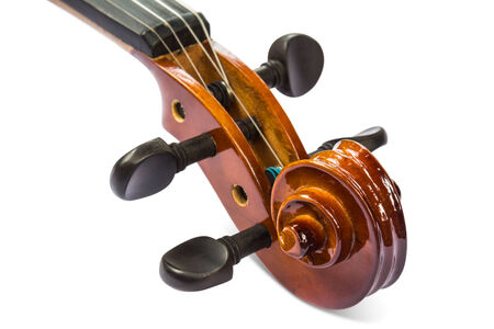 Close up of scroll and pegbox of violin, isolated on white background with clipping path Stock Photo