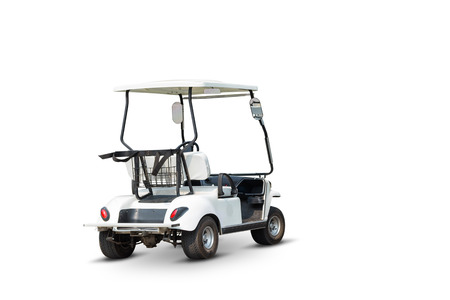 Golf cart for traveling in golf course or any recreation place, isolated on white background with clipping path